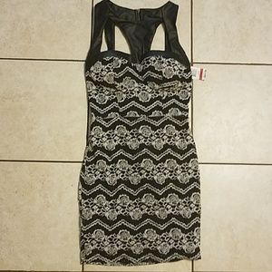 Sexy Cutout Faux Leather & Jacquard Mini Dress